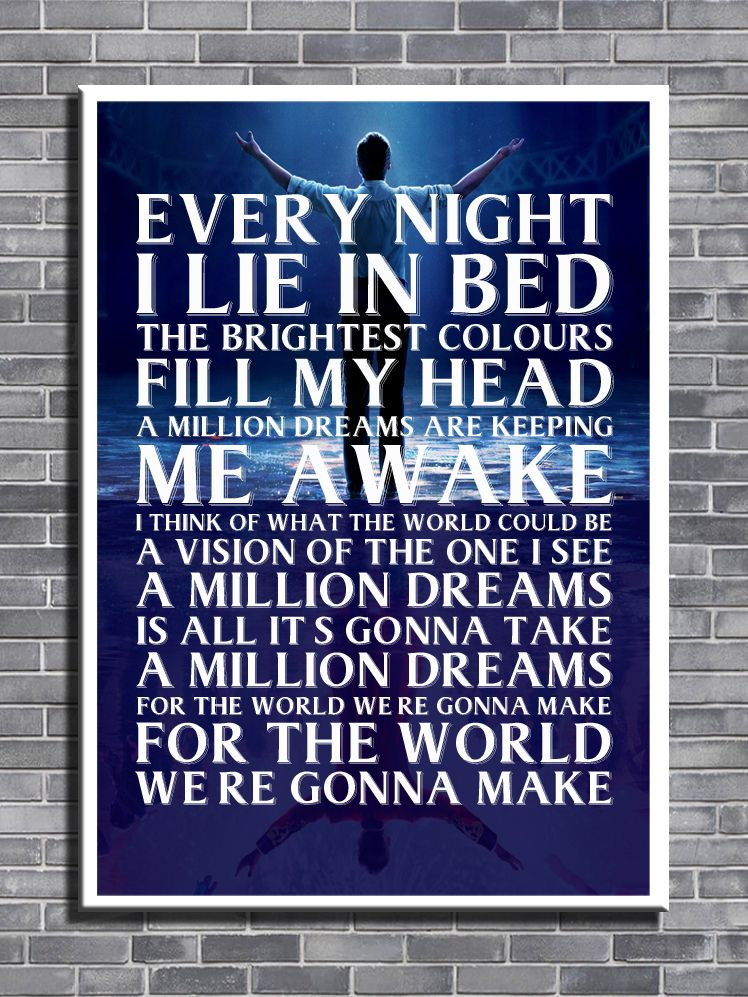 Greatest Showman A Million Dreams Lyric Art Canvas Print